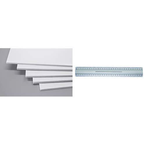 Cathedral FBWHTA310DE Schaumstoffplatte, 10 Stück, A3, Weiß & Wedo 525235 Lineal aus Aluminium 30 cm mit Griff für Rechts- und Linkshänder mit rutschsicherer Gummieinlage, silber
