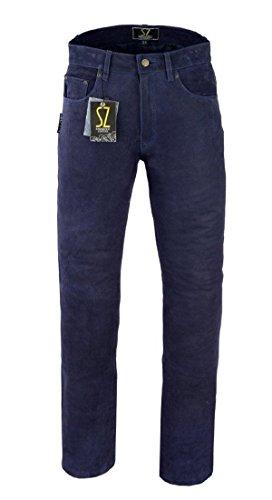Shamzee lederen broek lederen jeans broek van nubuck leer in blauw kleur