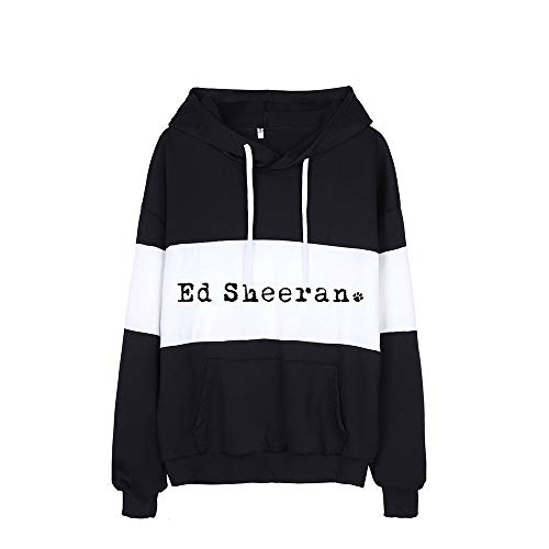 Ed Sheeran Pullover Frauen der Männer Hoodie Unisex einfacher gedruckte Patchwork Pullover-Loses T-Shirt Ed Sheeran Kapuzenpullover (Color : Black10, Size : Height-160cm(Tag S))