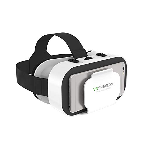 VR Headset for Cellphone, Universal Adjustable Lightweight VR Glasses Without Headphone for Mobile Games & Movies, Compatible 4.7-6.2 inch iPhone or Android, White