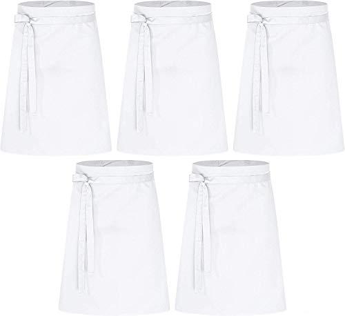DESERMO Lot de 5 tabliers de qualité supérieure pour homme et femme - 100 % pur coton - Grand choix de couleurs - 210 g/m² - 60 cm x 80 cm (L x l) - Blanc