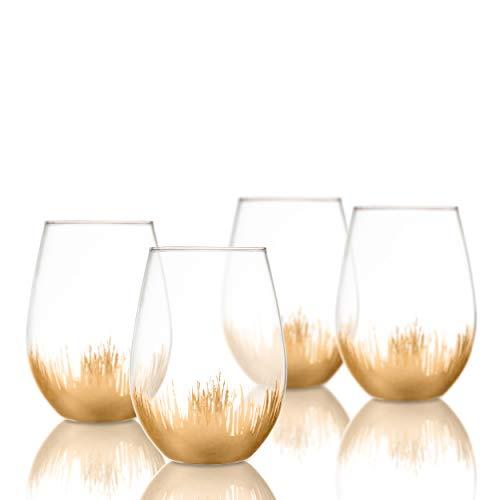 American Atelier Gold Dinn Sedona Elegant Set of 4 Flutes Dinner Glasses For Drinking Water Juice, 5x5x5 American Classic Wine Set