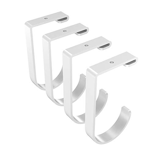 FLEXIMOUNTS Add-On Storage Hook Accessory for Ceiling Rack and Wall Shelving, 4-Pack (Flat Hook x 4, White)