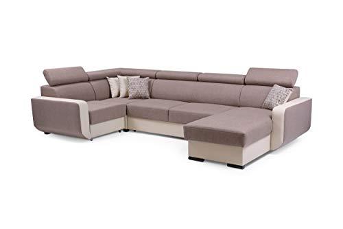MOEBLO Ecksofa mit Schlaffunktion Eckcouch mit Bettkasten Sofa Couch U-Form Polsterecke Maxim (Braun, Eckosfa Rechts)