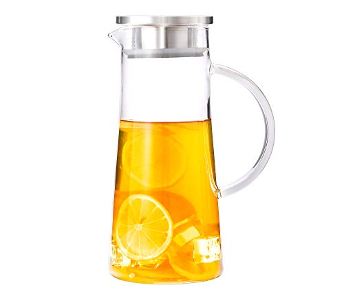 1.5 Liter 50 Ounces Glass Water Pitcher with Lid and Handle,Juice Pitcher,Cold Water Pitcher,Heat Resistant Glass Carafe Pitcher with Lid for Tea,Juice,Milk, Cold or Hot Beverages