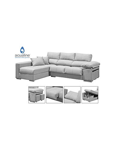 DECOR NATUR-Sofá Largo Chaiselongue Modelo COPI en Color Gris aqualine