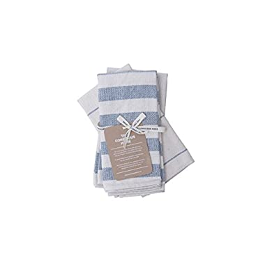 The Conscious Home Cotton Kitchen Towels Set | Eco-Friendly Kitchen Towel Upcycled Denim Tea Towels | Soft and Super Absorbent, Premium Quality | Natural and Blue,| 3-Pack, 20 x 28 in.