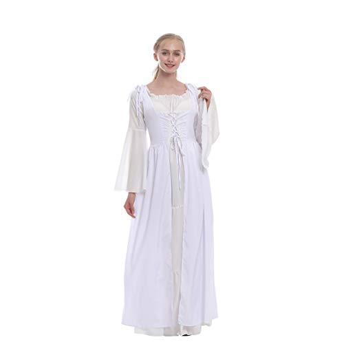 Kaiyei Damen Mittelalter Kleid Langarm Trompetenärmel Vintage Kleider Maxi Fasching Prinzessin Kleid Renaissance Kleidung Ballkleid Partykleid Halloween Karneval Zweiteiliges Kleid Weiß 5XL