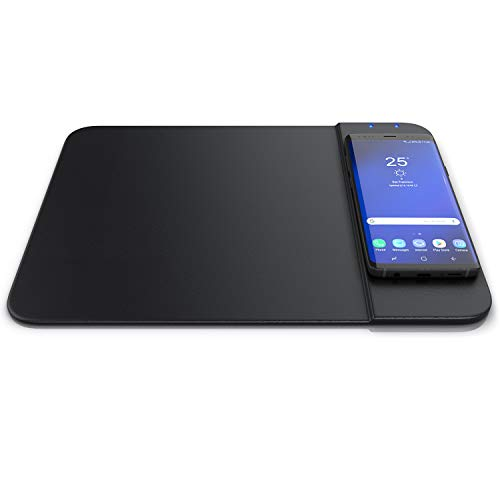 CSL - Alfombrilla de Ratón con Cargador Inalámbrico de 10 vatios – Cargador de inducción - Qi Estándar y Qi 1.1 Carga Rápida - Compatible con Samsung Galaxy Apple iPhone - Imitación de Cuero