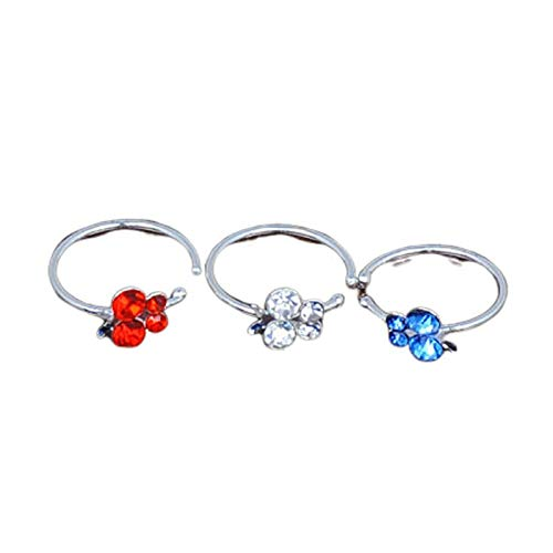 HIUYOO 3 PCS Septum Piercing Mariposa Piercing Jewelry Plata