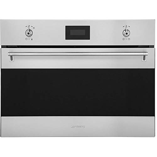 Micro ondes Grill Encastrable Smeg SF4309MX - Micro-Ondes + Grill Integrable Inox anti-trace et noir - 40 litres - 1000 W