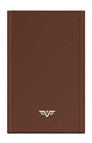 TRU VIRTU® Kreditkartenetui RFID/NFC Schutz - Card Case Click & Slide Brown - Slim Wallet aus Aluminium für Herren und Damen - 9,9 x 6,5 x 0,9 cm
