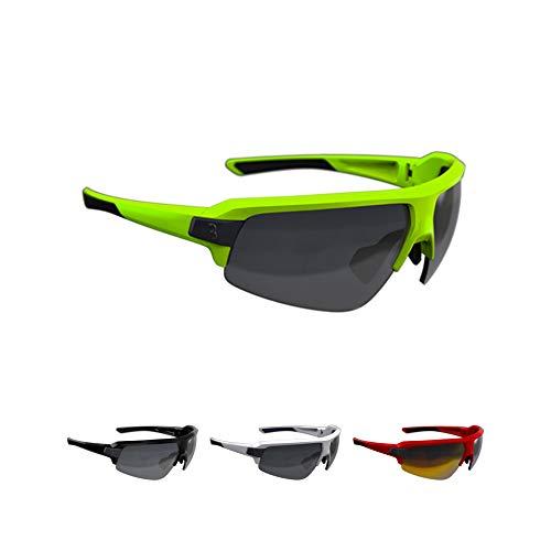 BBB Cycling Fahrradbrille Impulse | Herren und Damen Sportbrille Sonnenbrille Radsport | mit drei Wechselgläsern | Polycarbonat Grilamid | MTB Rennrad Urban | Matt Neongelb | BSG-62