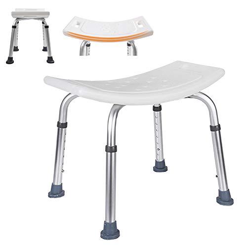Faziango Duschhocker für Senioren Duschstuhl 35-55cm Höhenverstellbar Duschsitz rutschfest und Stabil Badhocker aus Alu und Kunststoff Badsitz bis 136 kg