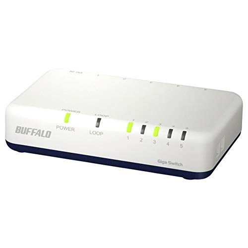 BUFFALO Giga対応 プラスチック筐体 AC電源 5ポート LSW6-GT-5EPL/NWH ホワイト スイッチングハブ ローコス...