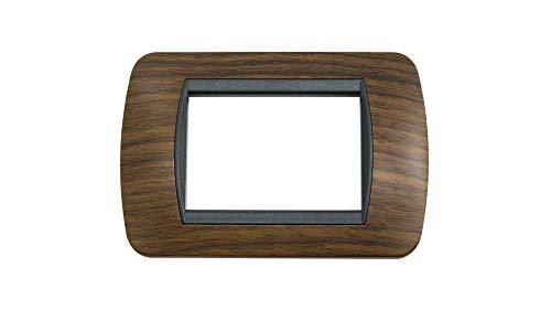 3 plazas BES 22569 Placa Compatible Living Madera Oscura Cubierta Interruptor