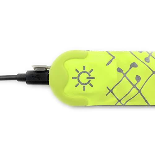 ELANOX LED USB Armband Leuchtband für Sport Reflektorband Sicherheitslicht Slap Band für Fahrradfahren Joggen Kinderwagen (wiederaufladbar 1 St. grün)