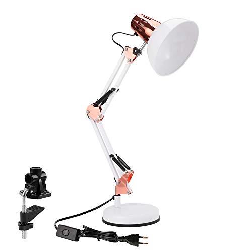 Powerking lámpara de escritorio, Lámpara de trabajo de arquitecto con brazo oscilante ajustable con abrazadera, lámpara de escritorio clásica para lectura en el hogar (Oro blanco)