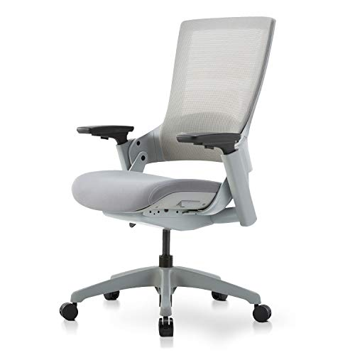 LCH High Swivel Executive Chair, Ergonomic Office Mesh Chair with Adjustable Height 3D Arm Rest Lumbar Support for Home/Studio/Office, Gray