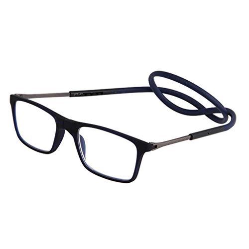 WUHX Lesebrille, Tragbare Faltbrille zum Umhängen, Magnetische Nasenstegkonstruktion für Frauen und Männer Lesen,Blue,+2.0