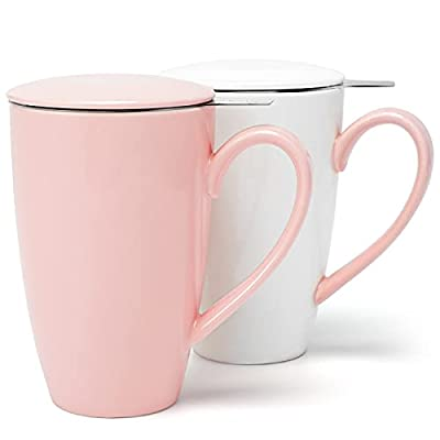 amHomel Tea Mug with Infuser and Lid, Couples Tea mug cups Set of 2 - 15 Oz, Porcelain Tea Mug, Couples Color Tea mug cups