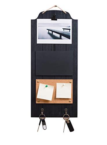 Home & Decoration Lavagna memo Decorativa con 1 Clip Nero Tagliere in Sughero 2 Ganci 4 in 1, Multifunzione, 24 x 1,5 x 55 cm