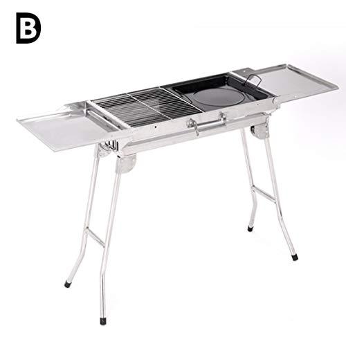 B-D Portable Et Pliable Barbecue De Table Au Charbon De en Acier Inoxydable, Grill Barbecue À Grande Capacité De Table avec Poignée De Transport 112 * 30.5 * 71Cm pour 3-5 Personnes
