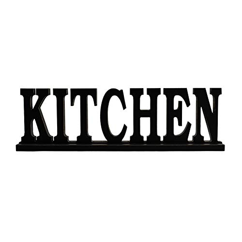 Kitchen Sign for Home Decor, Wooden Kitchen Block Letters Rustic Tabletop Words Decor (Kitchen)