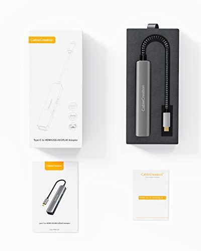 USB-C Hub Multiport Adapter, CableCreation 6 Port Typ C Hub, mit 4K HDMI, Ethernet-Anschluss, 3 USB 3.0-Anschlüsse, für MacBook Pro 2020/2019, Macbook Air 2020, iPad Pro 2020, Surface Go, XPS und mehr