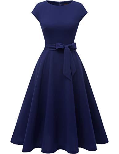 DRESSTELLS Midi 1950er Vintage Retro Rockabilly Kleid Damen elegant Hochzeit Cocktailkleid Navy XL