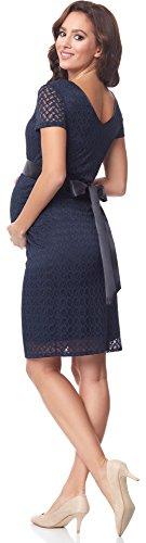 Be Mammy Damen Umstandskleid festlich aus Spitze Kurze Ärmel Maternity Schwangerschaftskleid BE20-162 (Marine2) - 2