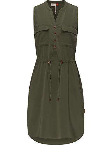 Ragwear Damen Kleid Dress Sommerkleid Blusenkleid Freizeitkleid Roisin Dark Olive21 Gr. M