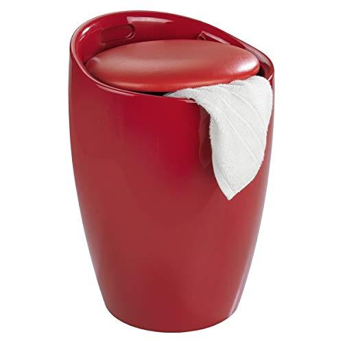WENKO Badhocker Candy Rot, Hocker mit Stauraum für das Badezimmer und Wohnzimmer, integrierter Wäschesammler, ABS-Kunststoff, Fassungsvermögen 20 L, Ø 36 x 50,5 cm