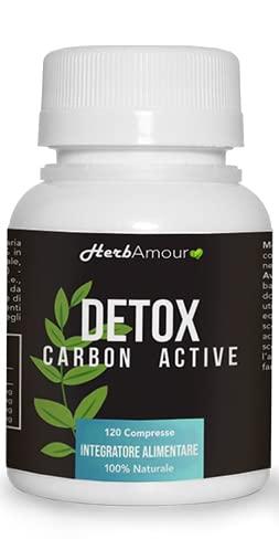 HerbAmour Detox Carbon Active | Eccezionale Per Aerofagia e Meteorismo | 120 Compresse Con Carbone Attivo | Drenante E Diuretico Forte Ed Efficace I Eccezionale Per Ridurre i Gonfiori