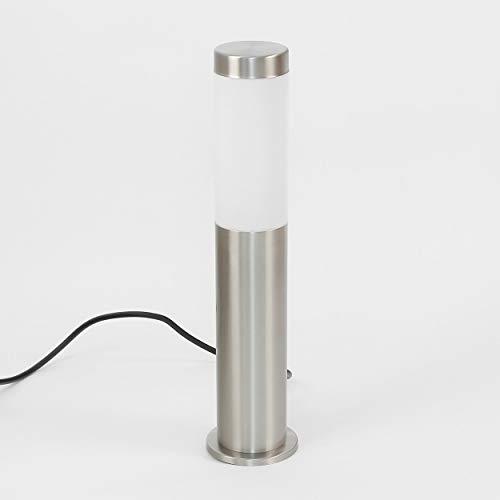 Wegeleuchte Edelstahl Außenleuchte mit Kabel + Stecker + Erdspieß IP44 Beleuchtung Hof Garten Weg Sockel Lampe 45cm