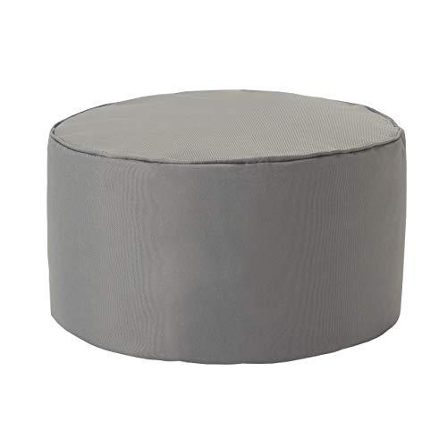 Lumaland Indoor Outdoor Sitzhocker 25 x 45 cm - Runder Sitzpouf, Sitzsack Bodenkissen, Sitzkissen, Bean Bag Pouf - Wasserabweisend - Pflegeleicht - ideal für Kinder und Erwachsene - Silbergrau