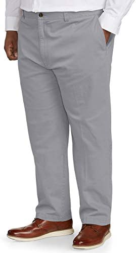 Amazon Essentials Men s Big Tall Relaxed fit Casual Stretch Khaki Pant fit by DXL Light Gray product image