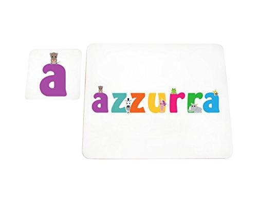 Little Helper LHV-AZZURRA-COASTERANDPLACEMAT-15IT Dessous de verre et sets de table avec finition brillante, personnalisés pour filles, nom bleu, multicolore, 21 x 30 x 2 cm