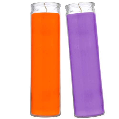 Prayer Candles - Wax Candles (2 Pc) Purple and Orange Great for Halloween Vigils VooDoo and Prayers - Unscented Glass Candle Set - Indoor Outdoor - Spiritual Religious Church - Jar Candles