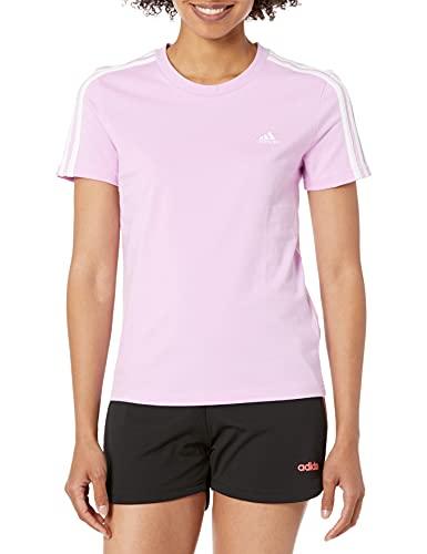 adidas Womens Essentials Slim T-Shirt Clear Lilac/White Large
