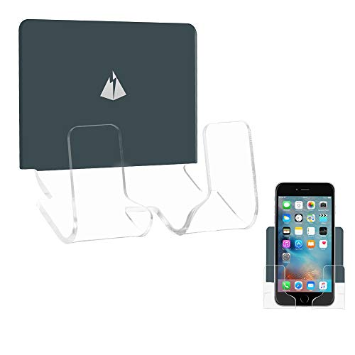 TXesign Adhesive Wall Phone Holder Mount for Smartphones iPhone External Battery Wall Holder Mount (Silky Grey Blue & Transparent)