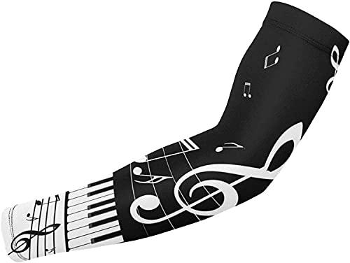 Funda de manga de tatuaje | Piano Keys and Notes Mangas de brazo de refrigeración Mangas deportivas de compresión para hombres mujeres Ciclismo Golf Runing Pesca