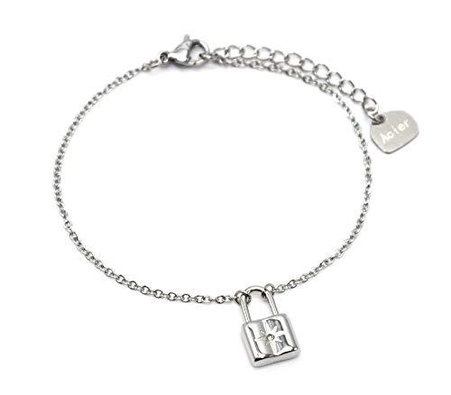 Oh My Shop BC4263 – Pulsera fina con cadena con pasador de estrella de acero plateado