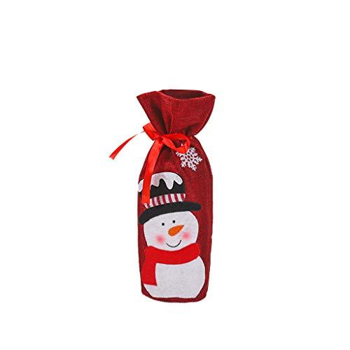 Pochettes de Noël pour Bouteille de Vin Emballage Cadeau À Cordon Motif Père Noël, Renne, Sapin Décoration de Table Housse pour Bouteille de vin Motif Noël Ornement pour Maison