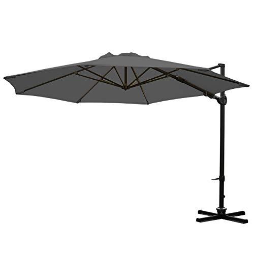 Mendler Gastronomie-Ampelschirm HWC-A39, Sonnenschirm, schwenkbar drehbar Ø 3,5m Polyester/Alu 34kg ~ anthrazit ohne Ständer