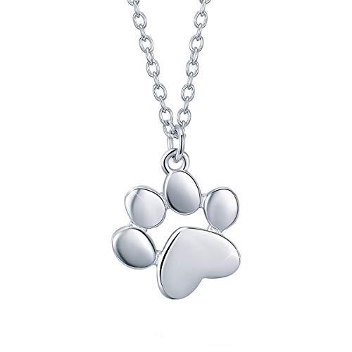 SIMPLOVE Collana Donna Gatto Artiglio del Piede Ciondolo Collana In Argento Sterling 925 animale della collana della stampa della zampa del cane di gatto collana