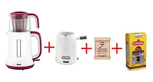 Electric Turkish Tea Maker Tea Pot Caydanlik Kettle Teapot & Coffee Maker Gift Turkish Tea 500gr 100gr Coffee