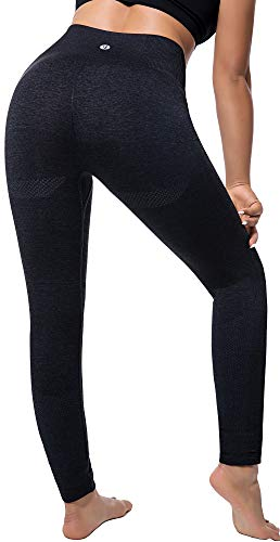 RUNNING GIRL Ombre Seamless Gym Leggings Power Stretch High Waisted Yoga Pants Running Workout Leggings (2050,Black, M)