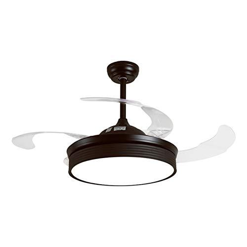 Control remoto Ventilador de techo Luz LED LED 36W Diámetro de atenuación de la escalera 108 * 44cm Sala de estar invisible Salón Dormitorio Silent Fan Light (Color : Negro)