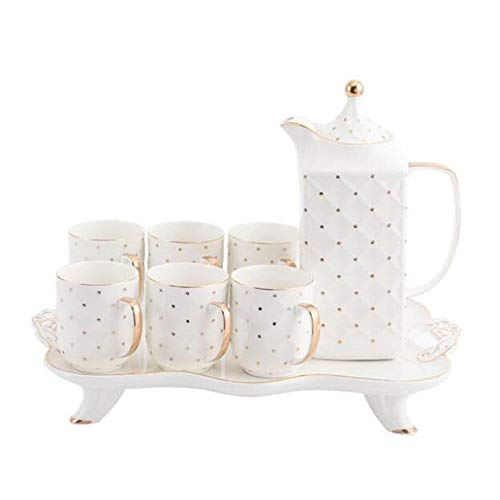 CHSSC 8pcs Set da tè, Set da tè per adulti Set da caffè in Ceramica dipinta a Mano, servizio da tè per matrimoni per adulti Set di tazze
